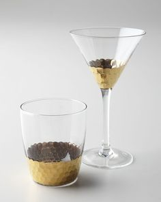 We love the way the gold hammering looks with these glasses. Buy them here: http://www.bhg.com/shop/horchow-four-cairo-martini-glasses-p50663a9882a71c80fe3be8e2.html?socsrc=bhgpin111412?socsrc=bhgpin111412goldglasses