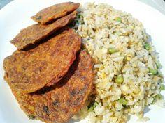 #arroz con #lentejaAmarilla #arvejas y #perejil y #tortillas de #zanahoria (naranja, roja y morada) #harinaIntegral #quesoRicotta #lecheDeAlmendras