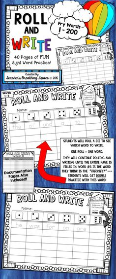 Fry Words 1-200 --- Roll and Write Sight Word Fluency Game --- 40 Pages of Fry Word FUN!