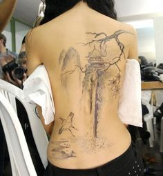 A tattoo of Japanese Landscape, a Temple Near a Waterfall Tattoo