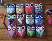 Top Hoot Violet Eco Felt Plush Owl Toy Plush Art by HappyFelties