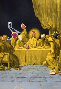 """Saatchi Art Artist Jamie Andrews; Collage, """"Judas leaves the party to fetch more wine."""" #art"""