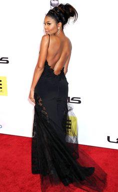 Gabrielle Union in a backless black Rita Venieris dress