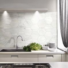 Marble hexagon tiles