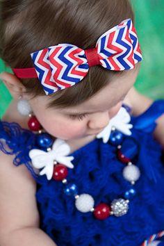 Red White & Blue Chevron Print Hair Bow Headband. Fourth of July Baby Headband. Baby Hair Accessories. Baby Girls Hair Accessories
