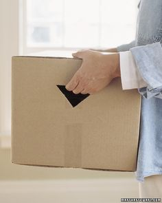 Make heavy lifting a little easier by creating handholds after taping shut moving or storage boxes.
