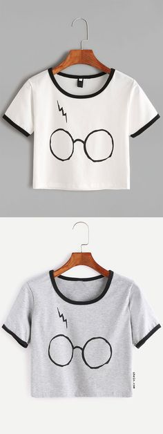 Heather Grey Contrast Trim Glasses Print T-shirt