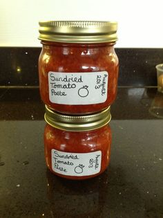Dehydrated seasoned tomatoes, then blitz with garlic and olive oil - 'Sun' dried tomato paste. Labelled by Bridget