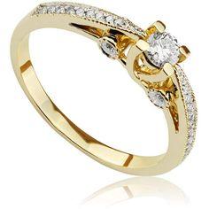 Pierścionek zaręczynowy z diamentami z żółtego złota P0486ZB