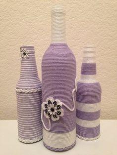 Decorative 3 piece bottle center piece