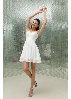 Custom Color A Line Chiffon White Short Prom Dress with Straps