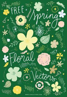 Free Floral Doodle Vectors -- June Letters Studio