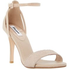 Dune Madeira Ankle Strap Sandals , Nude Leather ($110) ❤ liked on Polyvore featuring shoes, sandals, heels, nude leather, women shoes, nude heel sandals, ankle wrap sandals, leather shoes and stilettos