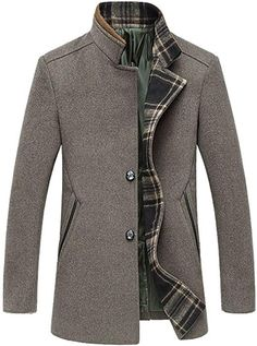 Chouyatou Mens Single Breasted Wool Blend Pea Coat Plaid Block Lined (Small, Gray) Mens Fashion Suits, Mens Suits, Stylish Men, Men Casual, Mens Flannel Pajamas, Mens Wool Coats, Men's Coats And Jackets, Mens Clothing Styles, Cool Suits