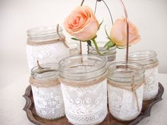 ... , Wedding Ideas, Candle Holders, Lace Wedding, Lace Jars, Mason Jars