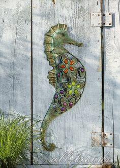 Details Zu XL Wandbild Seepferd Wand Deko Metall Figur Maritim Garten  Terrasse Schmuck