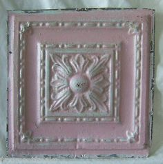"""12"""" Reclaimed Antique Tin Ceiling See Our Videos Pink Chic Shabby Metal 