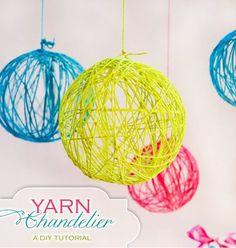 DIY Yarn Chandelier   DIY Teen Room Decor Projects, see more at: http://diyready.com/diy-teen-room-decor-projects/