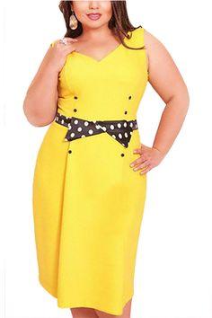 Plus Size Bowknot Waistbelt Dress - US$17.95 -YOINS