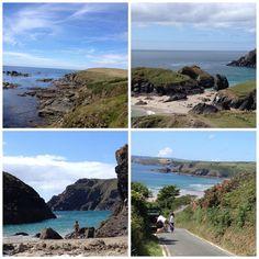 Cornwall, England.  Clockwise from top left: Lizard Point; Kynance Cove; Hendra Beach & Kynance Cocce again.