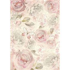 Оризова хартия за декупаж А4- Нежни рози