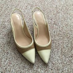 Talbots patent sling back heels size 8 Re-posh. Never worn by me but very cute. Ivory patent toe, tan/straw upper. Kitten heels are approximately 1.5 inches. Talbots Shoes Heels