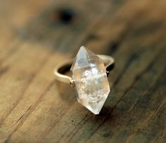 Herkimer Diamond Ring - Custom Stone, Sizing, Rivet Metal