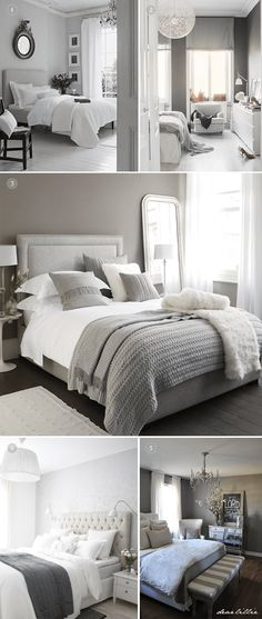 White And Grey Master Bedroom Interior Design Ideas - Home Decor Bedroom Color Schemes, Bedroom Colors, Colour Schemes, Casa Disney, Bedroom Inspo, Bedroom Ideas, Bedroom Designs, Trendy Bedroom, Beautiful Bedrooms