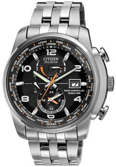 Citizen WORLD TIME AT BLACK DIAL STAINLESS STEEL Mens Watch AT9010-52E BY Citizen