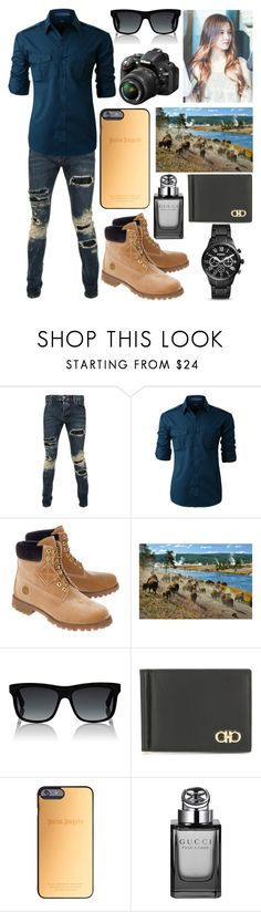 """""""Yellowstone w/ Nancy"""" by amberly-toney ❤ liked on Polyvore featuring Philipp Plein, LE3NO, Off-White, Nikon, Gucci, Salvatore Ferragamo, Palm Angels, FOSSIL, men's fashion and menswear"""