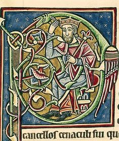 Initial capital letter P and Moab King of Israel after the death of Ahab, miniature from a Bible, manuscript, Portugal 12th-13th Century.