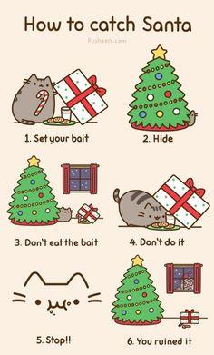Pusheen - how to catch Santa