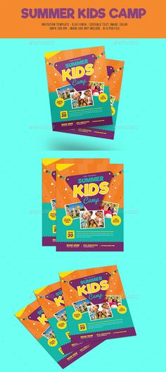 Summer Kids Camp Flyer by Guuver on Envato Elements Summer Camps For Kids, Camping With Kids, Summer Kids, Kids Camp, Family Camping, Free Flyer Templates, Event Flyer Templates, Creative Banners, Flyer Design Inspiration