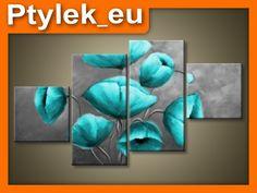Obraz Tryptyk Obrazy Niebieskie Kwiaty 160x90 4el.