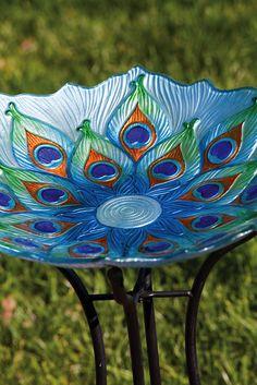 Peacock Glass Birdbath Garden Lawn Yard Bowl Outdoor Patio Decoration Indoor Art - Birdbaths