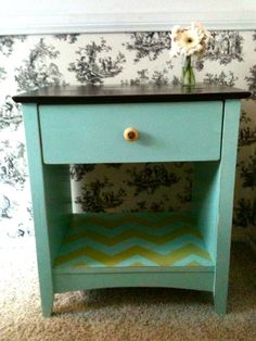 Painted Distressed Nightstand by LeafDesignCo on Etsy, $155.00