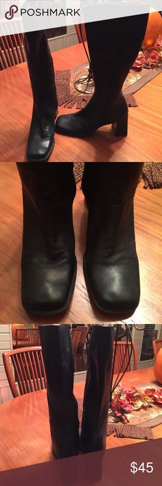 "Black Leather Nine West Boots sz 8.5 Gently worn pair of Nine West Chayra leather boots that zip up on the inside size 8.5.  They do show signs of light wear but are still nice overall.  Overall length top to bottom is 18"" and the heel measures 3"".  Please ask if you have any questions!! Thank you!! Nine West Shoes Heeled Boots"