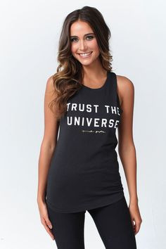 TRUST THE UNIVERSE MUSCLE TANK VINTAGE BLACK   Spiritual Gangster Yoga Clothing for a new generation of yogis