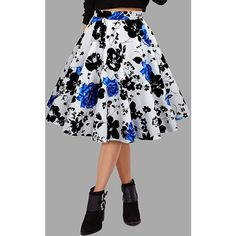 Yoins Blue High-rise Floral Print Midi Swing Skirts ($19) ❤ liked on Polyvore featuring skirts, blue, high waisted midi skirt, high-waisted skirt, floral skirt, midi skater skirt and skater skirts