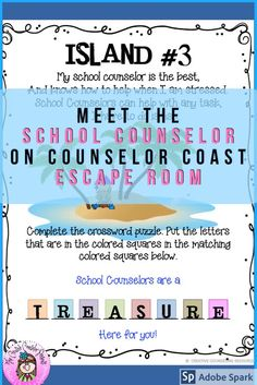 Meet the School Counselor Escape Room Group Counseling, Counseling Activities, School Counseling, Fun Activities, Elementary School Counselor, Elementary Schools, Guidance Lessons, Flipped Classroom, Cooperative Learning