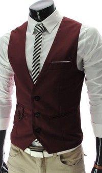 Chaleco de vestir ajustado rojo sin mangas de cuello en V