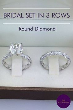 Gorgeous 2.67 Carat G SI2 Round Diamond set in a lovely '3 rows' 14K White Gold Engagement ring with 0.94 Carat Diamonds on the sides. Engagement Ring is a total weight of 3.61 Carat. This ring comes with a matching wedding band with a total of 1 carat diamonds on it -  14K White Gold. A total of 4.61 Carat. Explore unique and simple rings for brides at https://bestbrilliance.com/engagement-rings/bridal-set/4-61-carat-diamond-engagement-and-wedding-ring-set-14k-white-gold-j99933-html.html