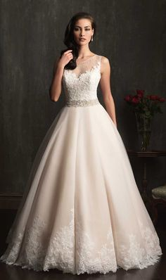 wedding-dresses-allure-bridal-2014-style-9073-sheer-lace-ballgown.jpg (660×1115)