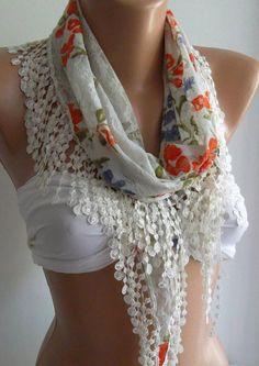Elegance  Shawl / Scarf with Lacy Edge by womann on Etsy,