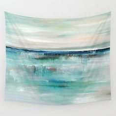Art Tapestry, Wall Tapestries, Wall Hanging, Turquoise Tapestry, Teal Tapestry, Nature, Abstract Tapestry, Coastal Decor, Beach Tapestry