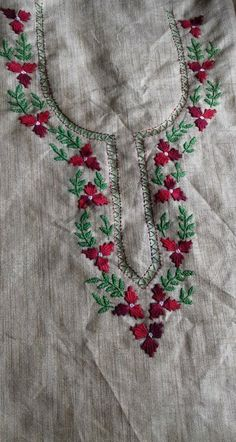 17 Ideas knitting stitches types of for 2019 Peacock Embroidery Designs, Hand Embroidery Design Patterns, Hand Embroidery Dress, Kurti Embroidery Design, Hand Embroidery Videos, Hand Embroidery Stitches, Embroidery Fashion, Embroidered Blouse, Poncho Knitting Patterns