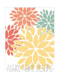 Flower Wall Art Print Modern Home Decor in Yellow, Teal, Coral and Red. $17.00, via Etsy.