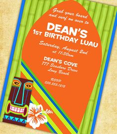 Tiki Luau Surfer Invitation  As Seen On AMY by GwynnWassonDesigns