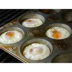 "Eggs on the Grill | ""Have you ever tried eggs on the grill by using a muffin pan? Just spray the pan and crack the eggs and put them on the grill. Try adding some chopped peppers and onions or anything to your liking."""