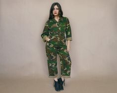 Camouflage Coveralls Military Jumpsuit 80s Camo Grease Monkey Flight Suit Army 1980s Hunter Unisex / Size M Medium by GravelGhostVintage on Etsy